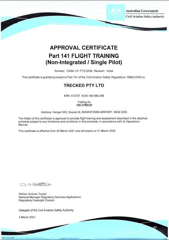 Helitreck CASA Helicopter Flight Training Certificate Part 141